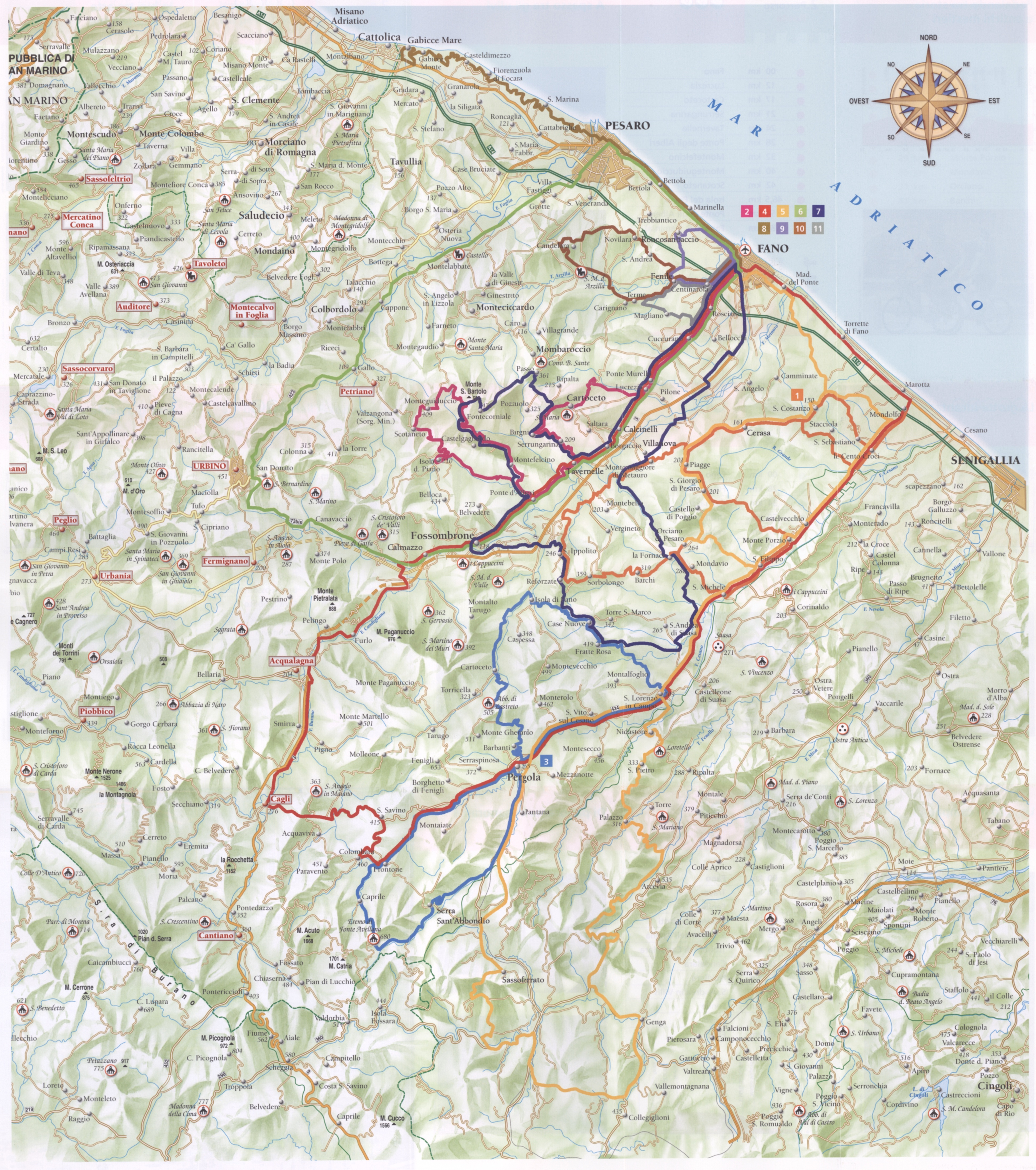 Marche Cycling Map Marche Italy Mappery