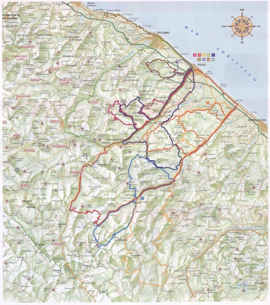 Marche cycling map