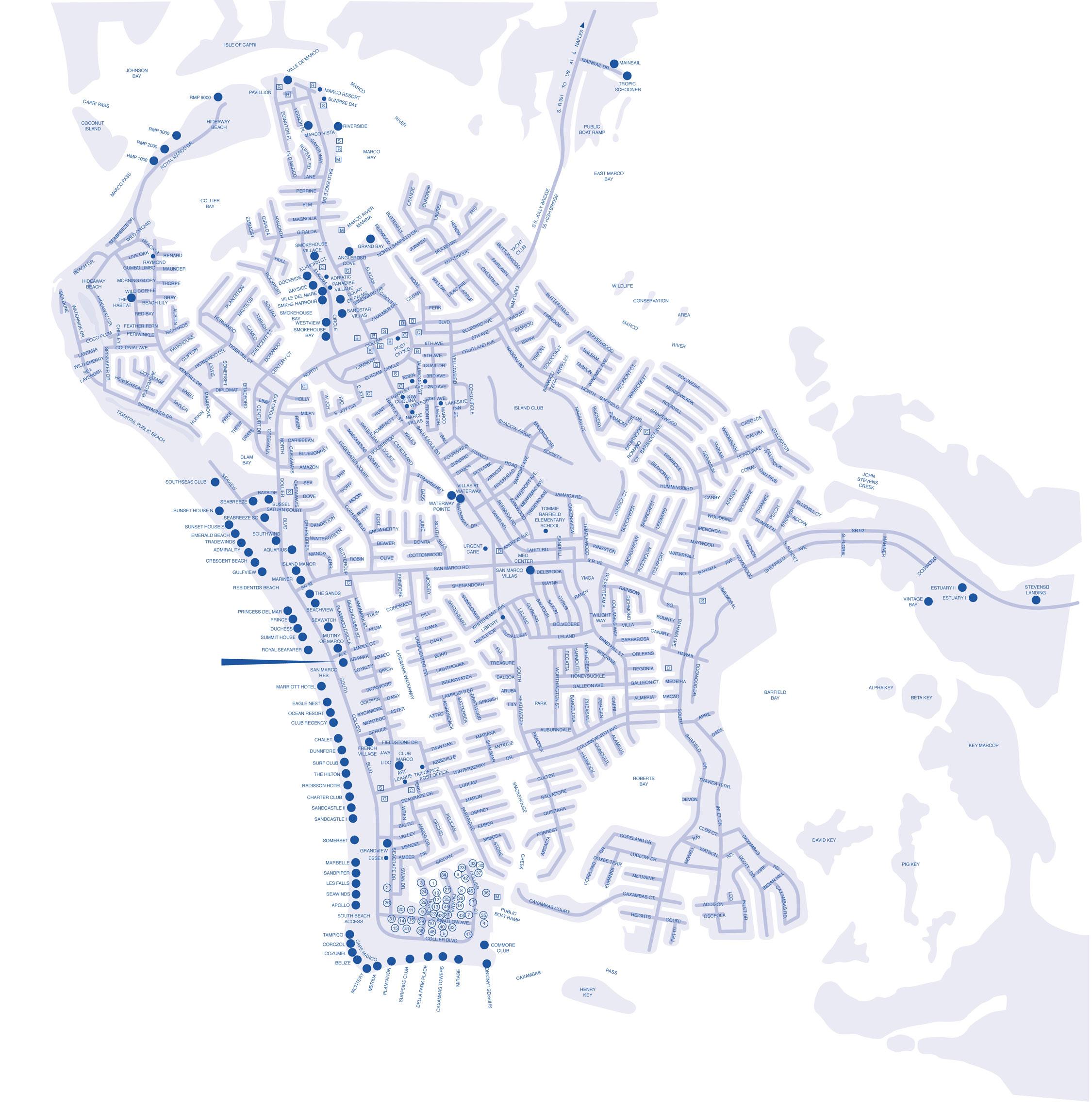 Map Of Marco Island Florida.Marco Island Hotel Map Marco Island Florida Mappery