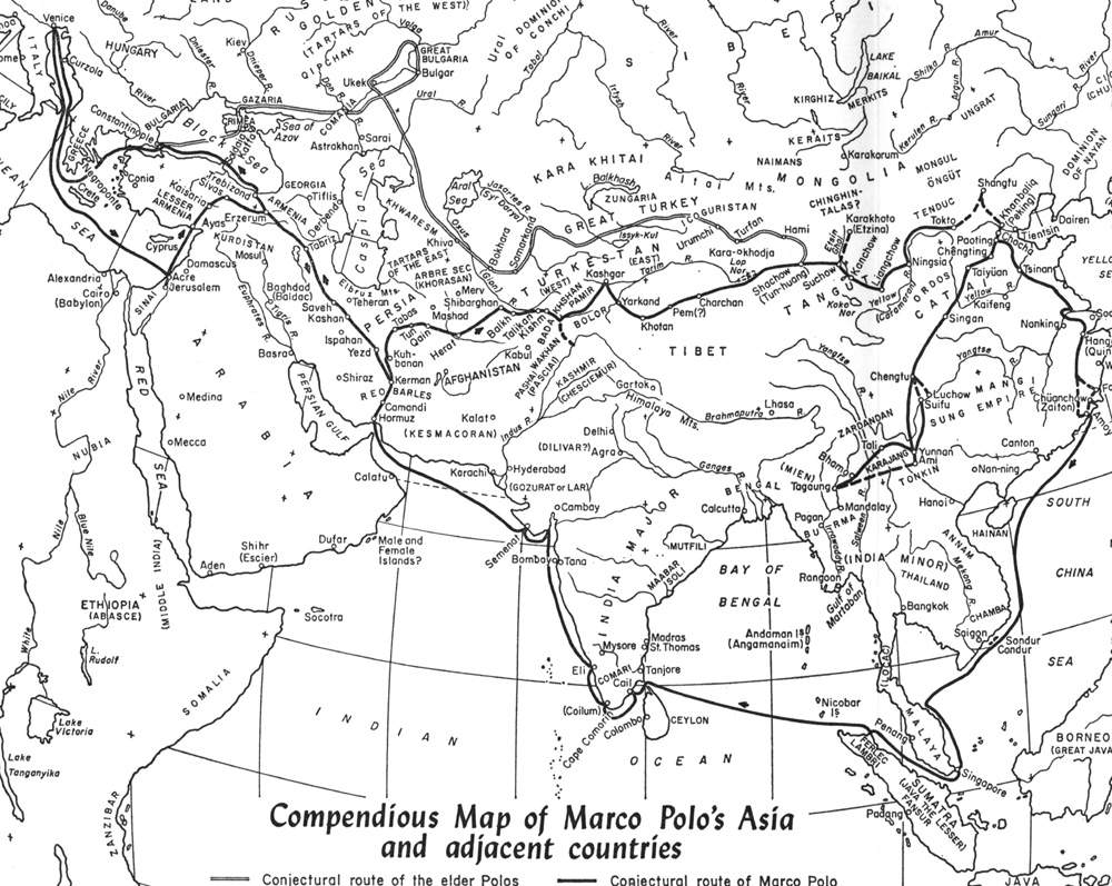 Marco Polos Route Map  Asia  mappery