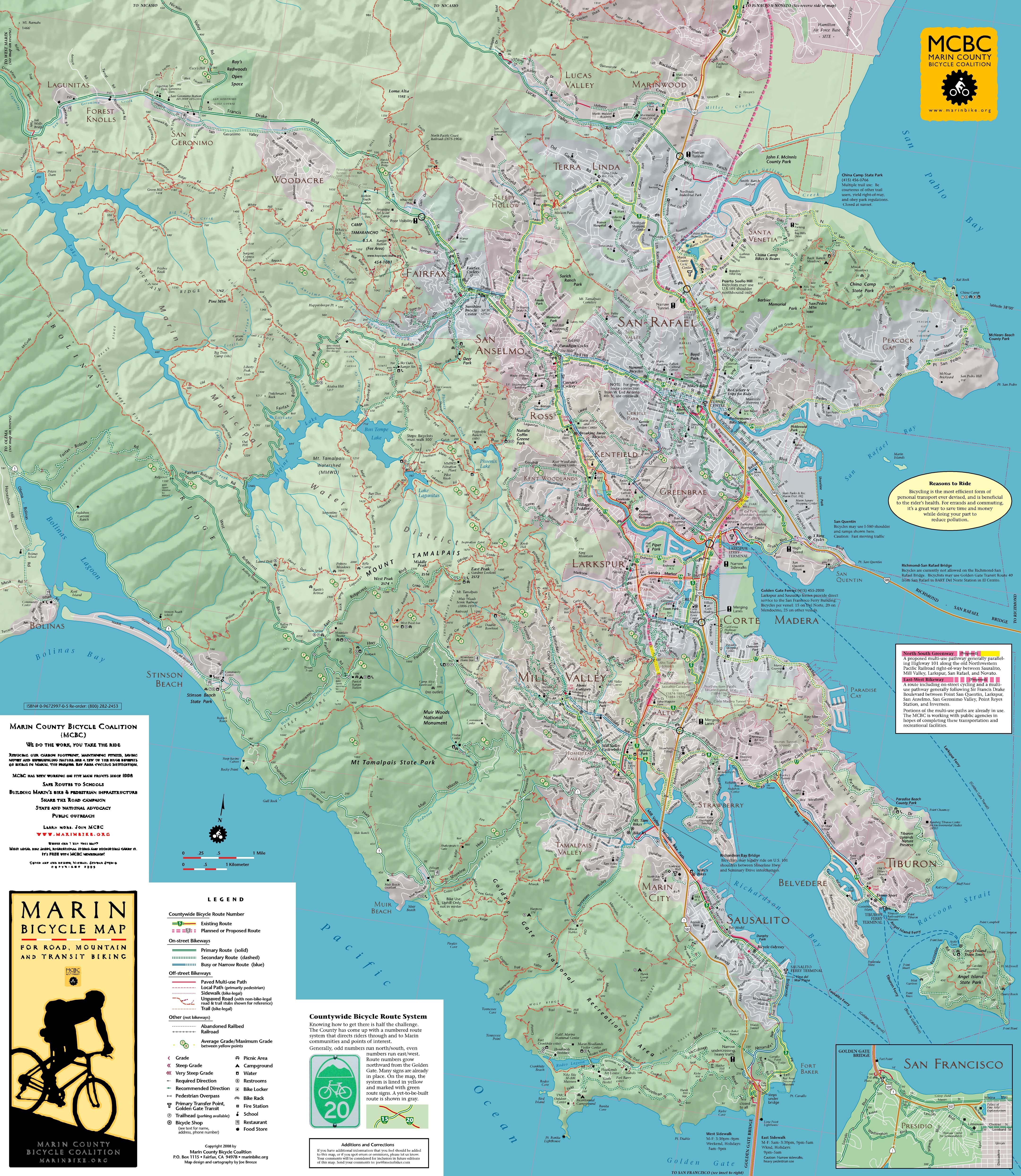 Marin California Bike Map Marin CA mappery