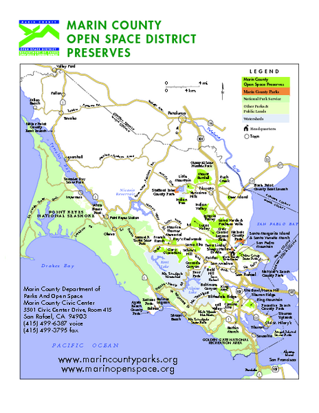 Marin Open Space Preserves Map