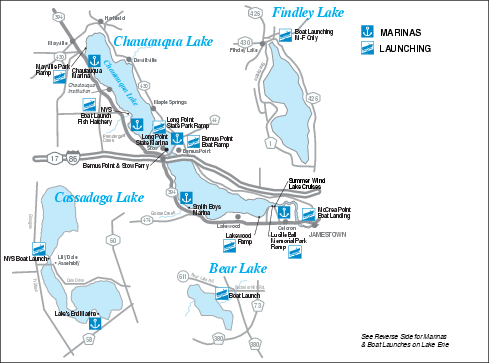 Marinas and Boat Ramps on Chautauqua and Surrounding Lakes Map