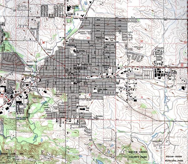 Marion Iowa Topo Map   Marion Iowa • mappery