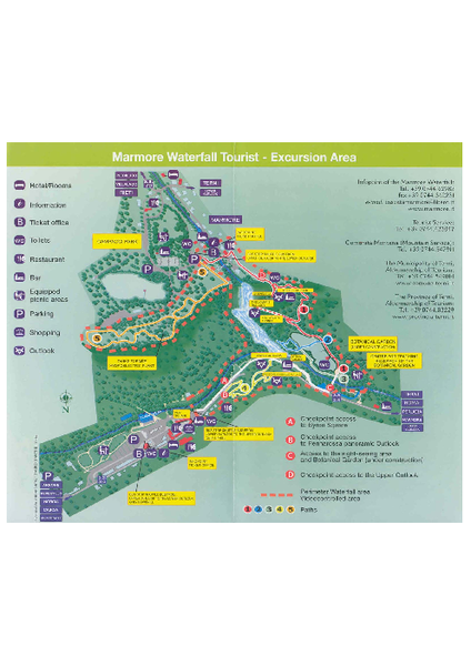 Marmore waterfall Map