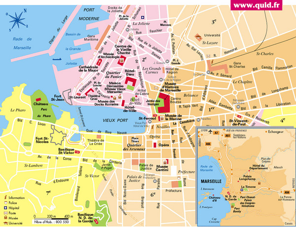 Tourist map of central Marseille, France. Inset shows surrounding area.