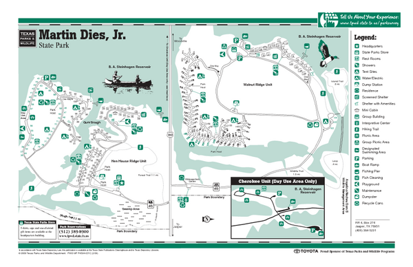 Martin Dies Jr., Texas State Park Facility and Trail Map