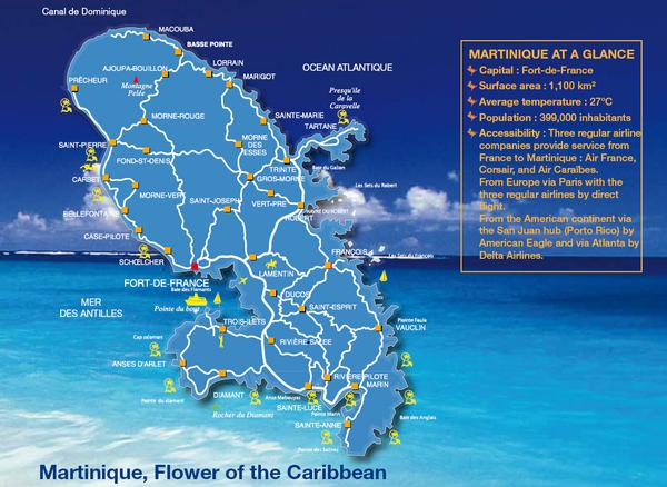 Martinique Tourist Map Martinique mappery