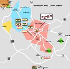 Martinsville Restaurant and Hotel Map