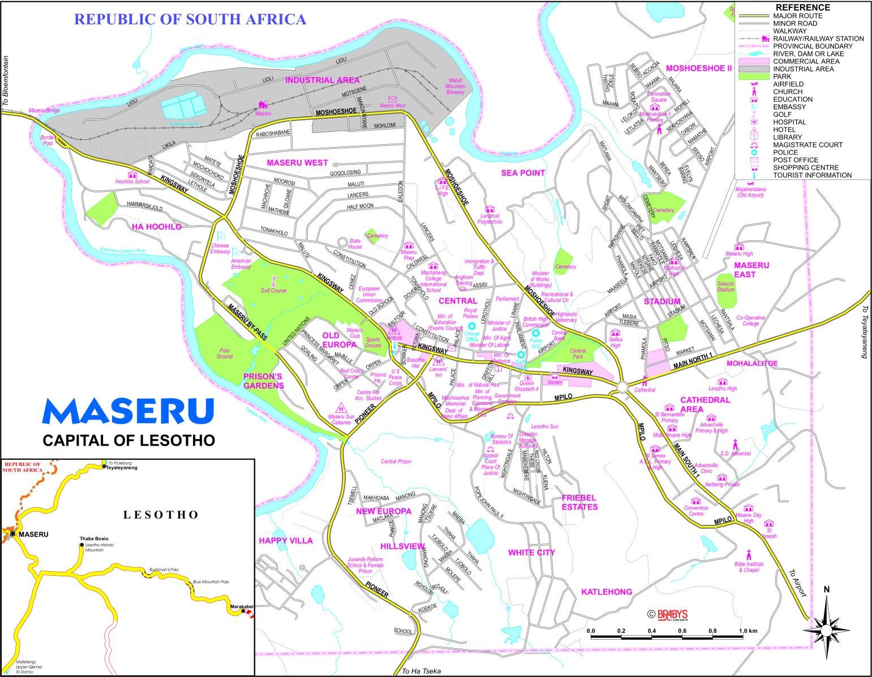Maseru Lesotho Map Maseru City Map Maseru •