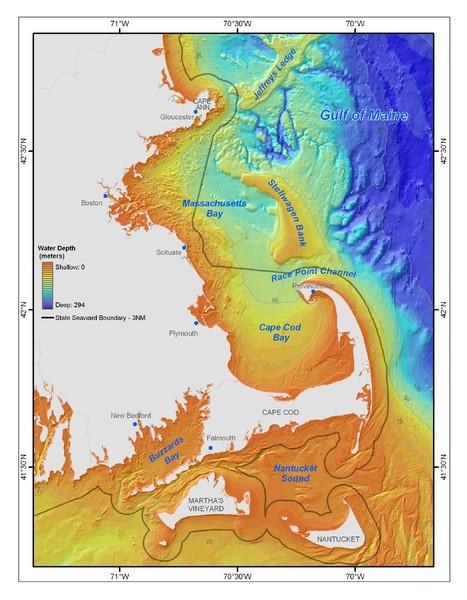 Massachusetts Bay sea floor Map - Cape Cod • mappery