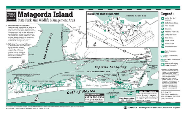 Matagorda, Texas State Park Facility and Trail Map