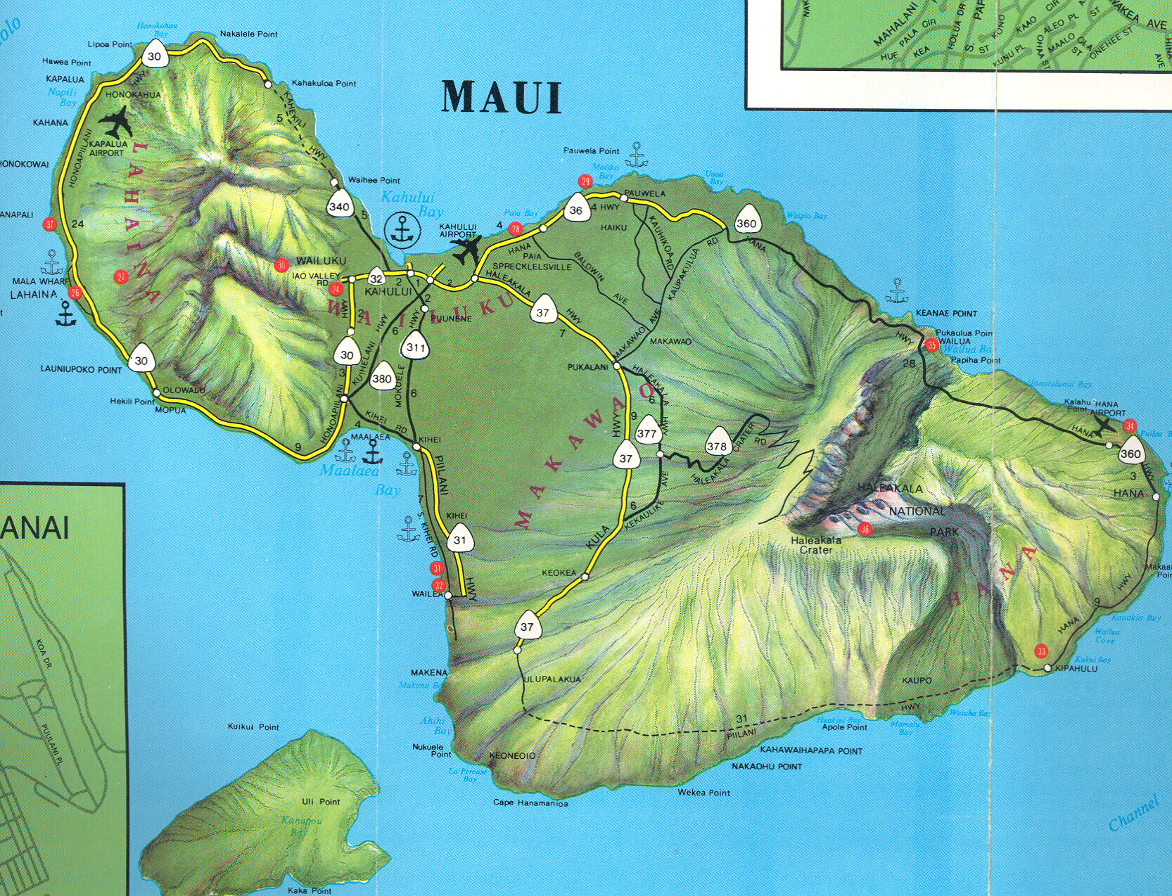 Maui Physical Map  Maui HI  Mappery