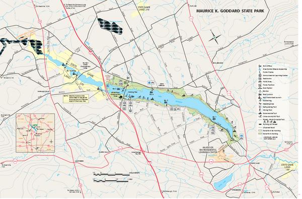 Maurice k goddard state park map sandy lake pa 16145 for Lake wilhelm fishing