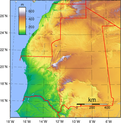 Mauritania topography Map