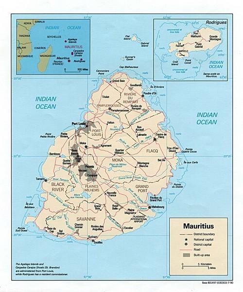 Mauritius tourist Map mappery