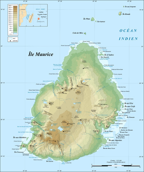 Mauritius topography Map