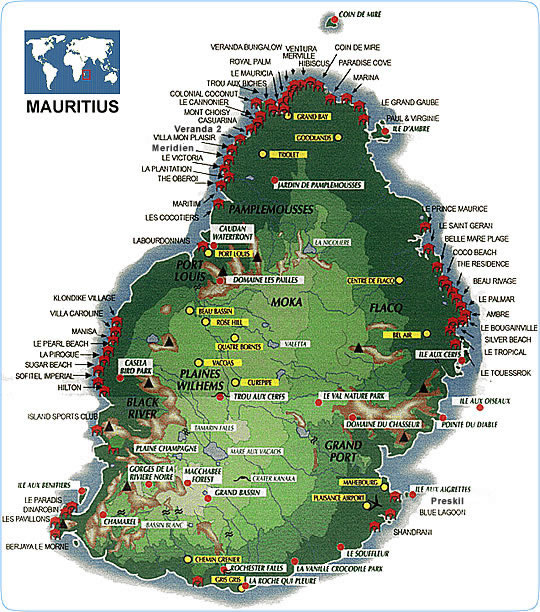 Mauritius tourist Map mappery