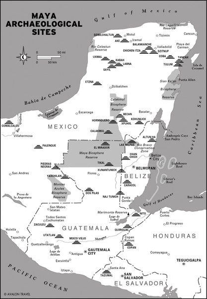 Mayan Archaeological sites in Belize Map