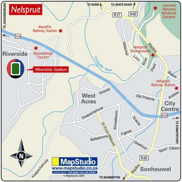 Mbombela Stadium, Nelspruit, South Africa Map