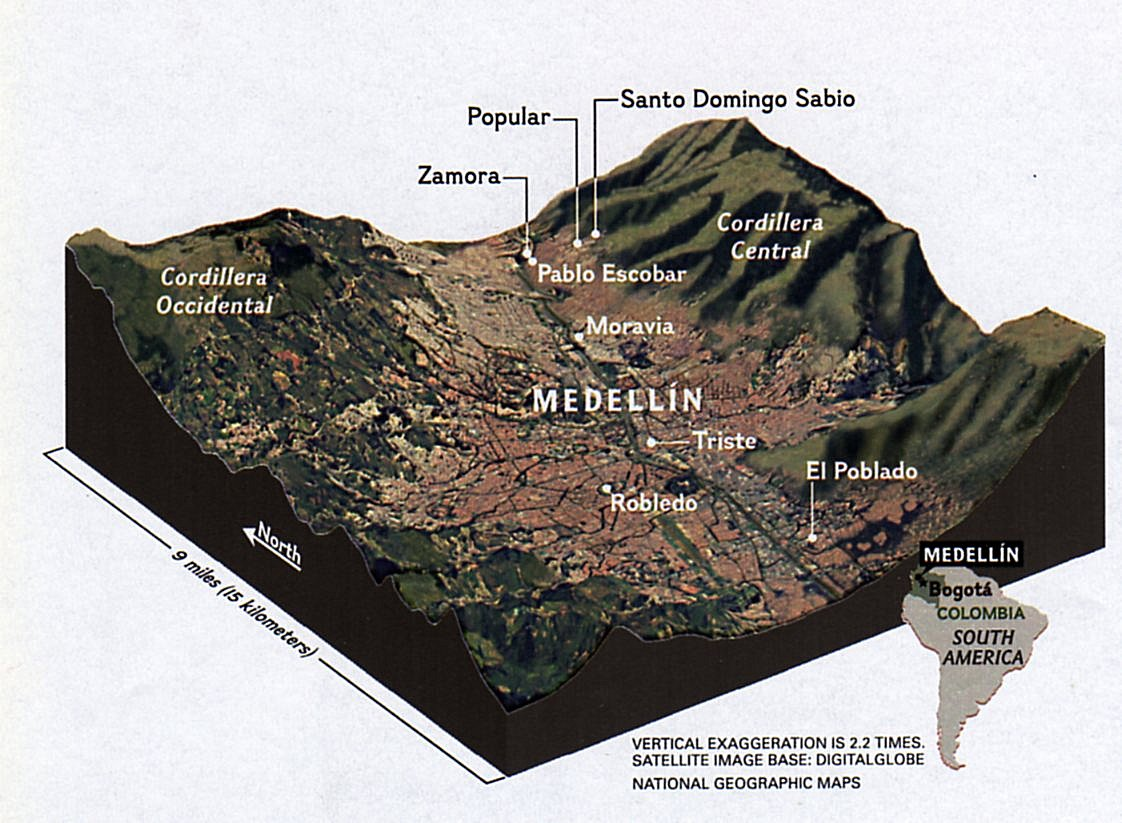 Medellin Physical Oblique Map Medellin Mappery
