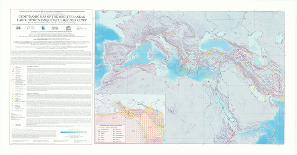 Mediterranean 2001 tectonics & kinematics Map