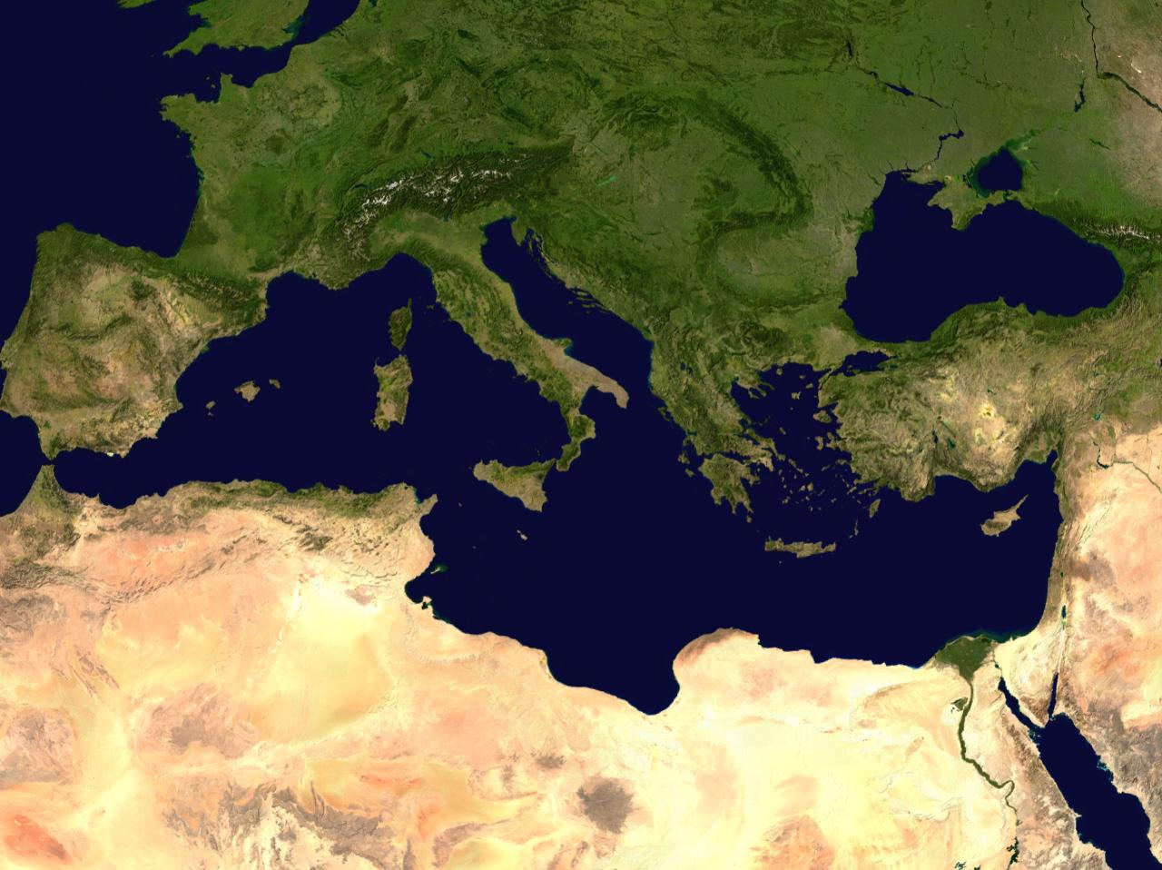 Mediterranean Satellite Map Mediterranean Mappery - Map through satellite