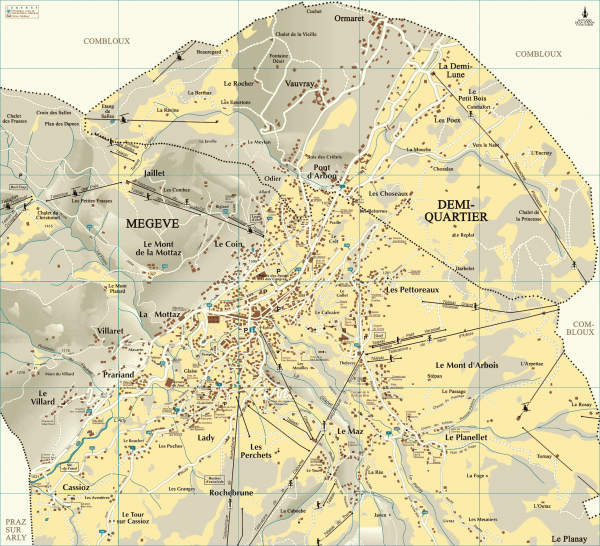 detailed map of france with cities. Detailed map of Megève village