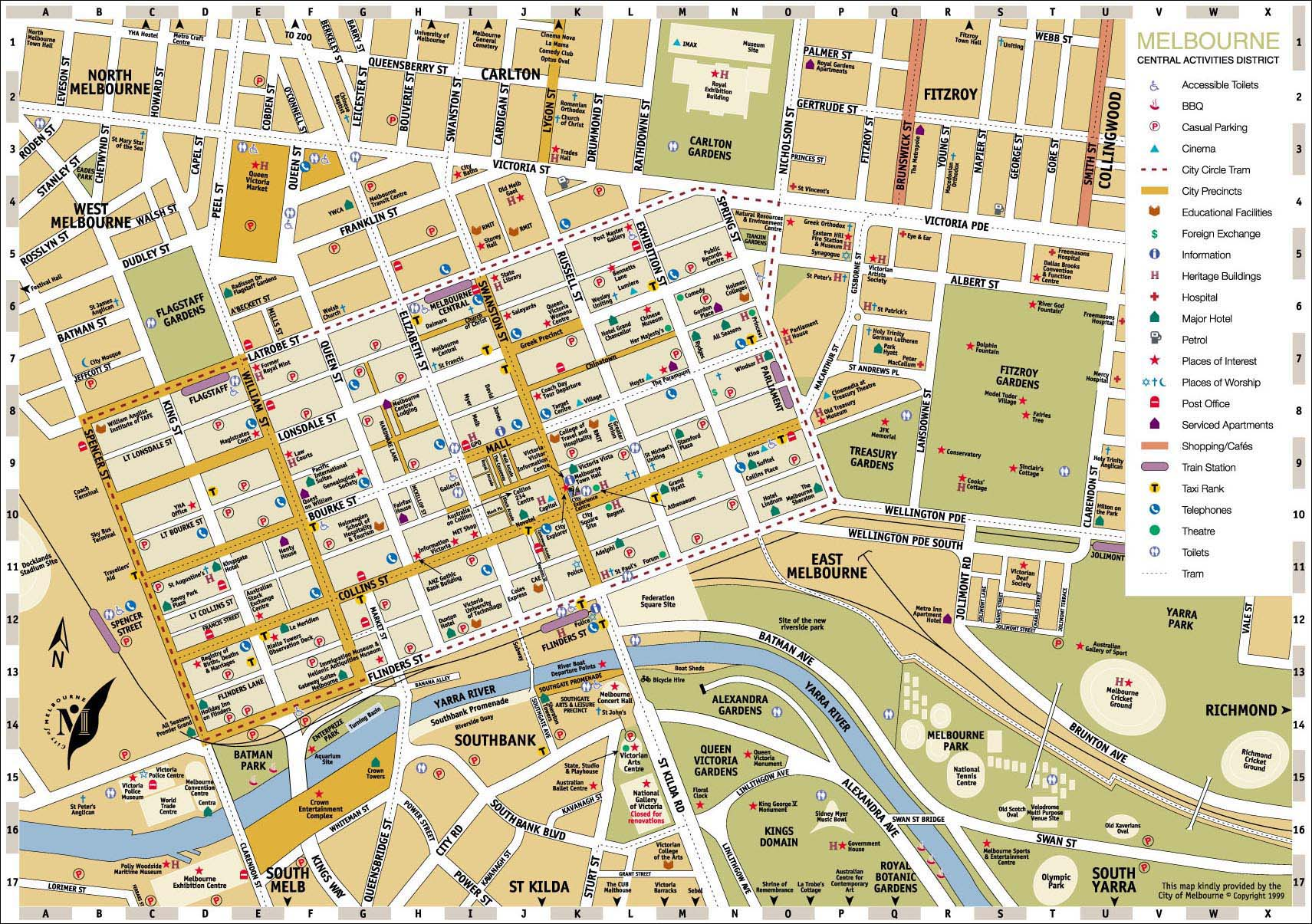 Melbourne Central District Tourist Map Melbourne Australia mappery