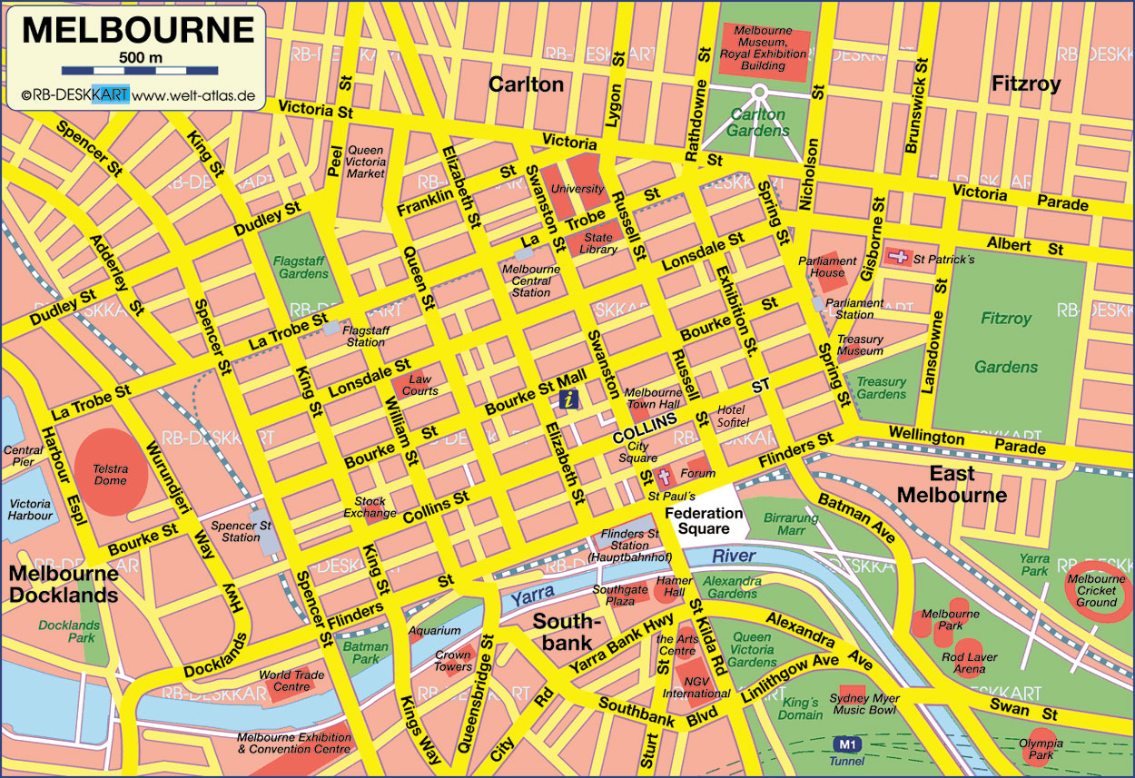 Melbourne Tourist Map - Melbourne • mappery