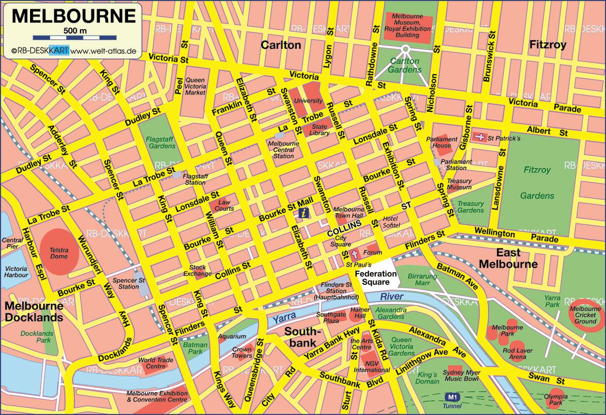 Melbourne Tourist Map - Melbourne • mappery Melbourne Map