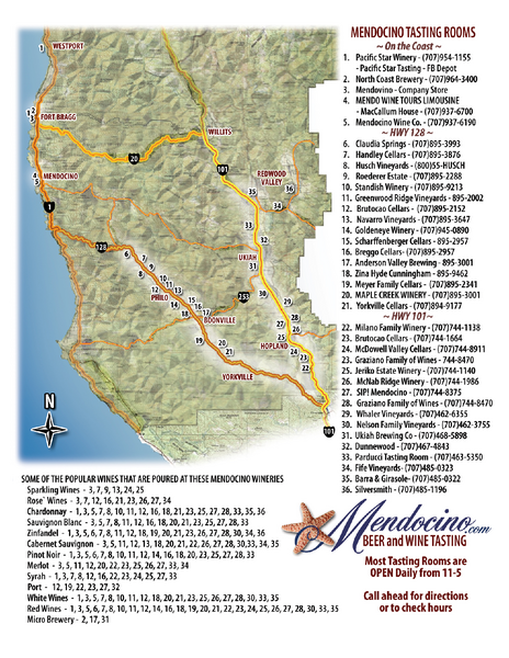 Mendocino Beer And Wine Tasting Map Mendocino County California