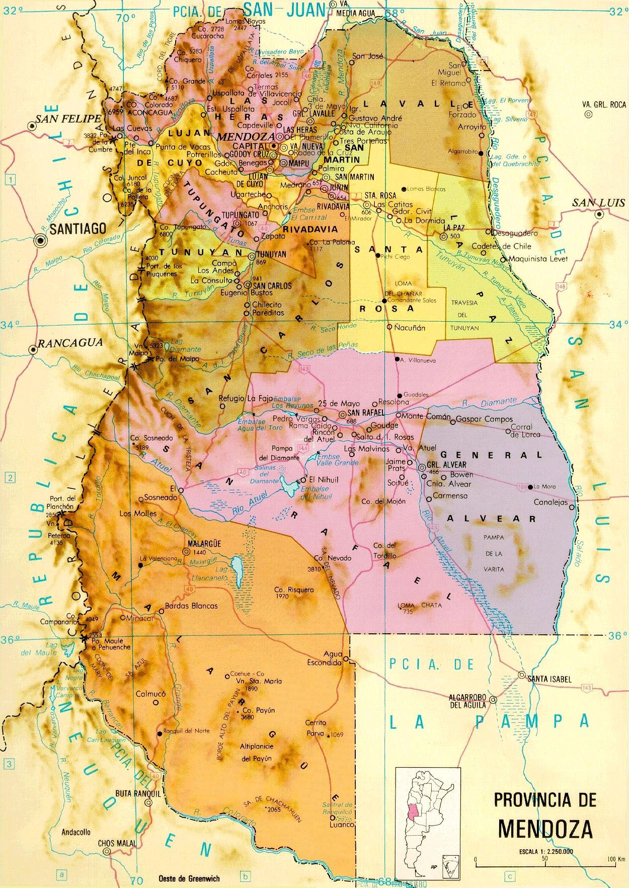 mendoza province map mendoza argentina mappery