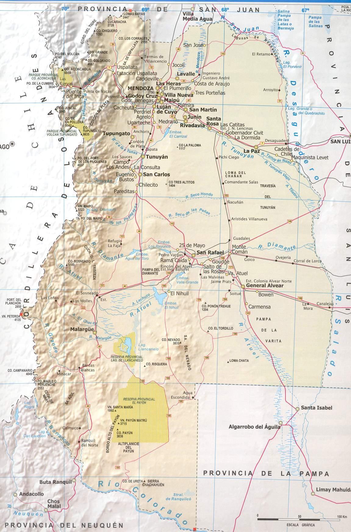 Mendoza Province Road Map Mendoza Argentina mappery