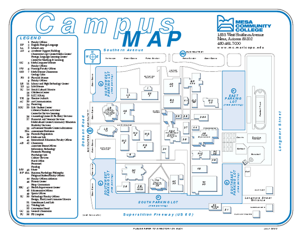 Mesa Community College Campus Map  1833 West Southern