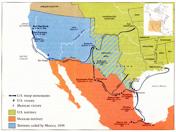 Mexican War Historical Map Mexico Mappery