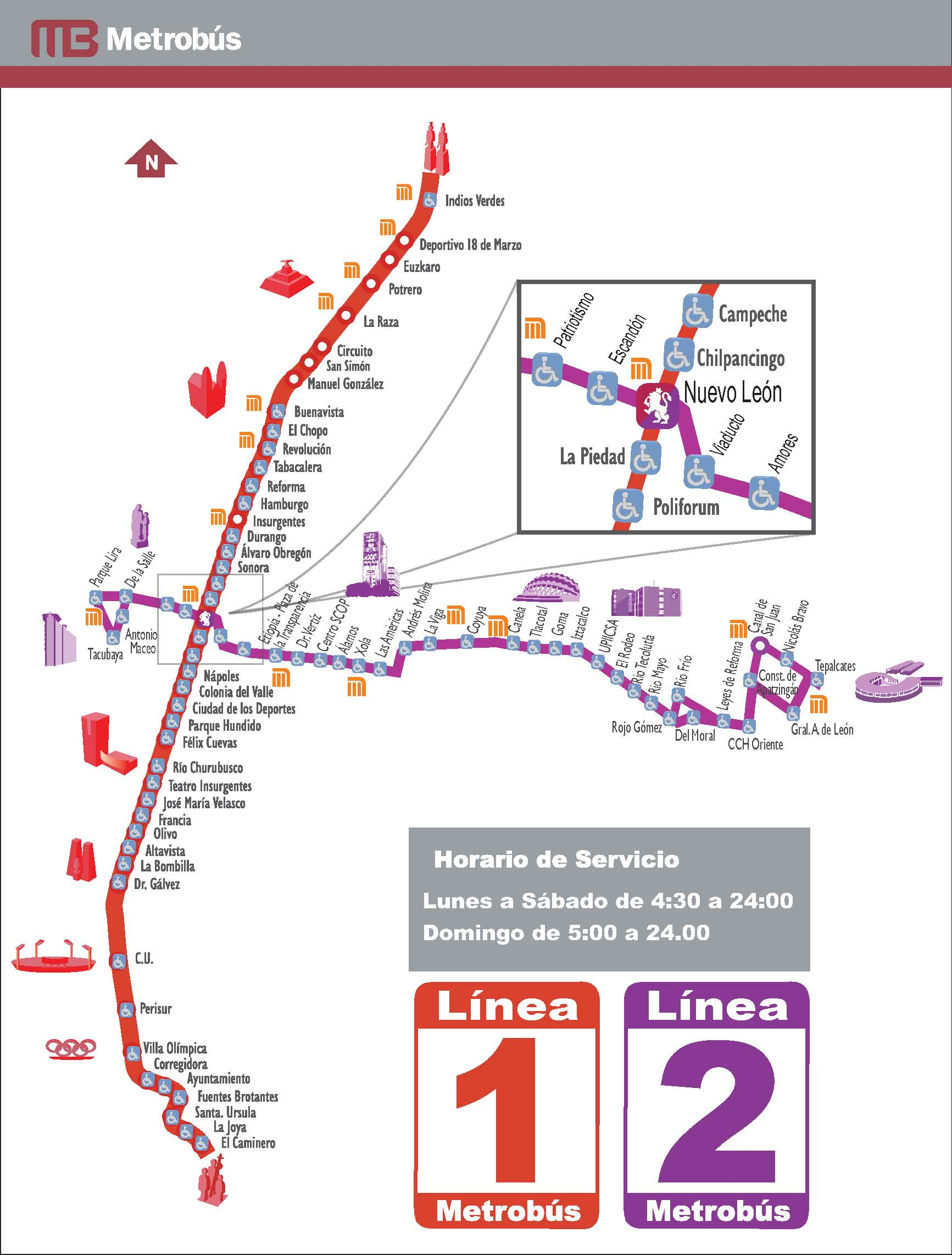 Mexico City Mexico Bus System Routes 1 And 2 Map Mexico City