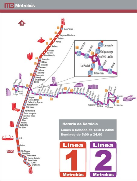 Mexico City, Mexico Bus System (Routes 1 and 2) Map