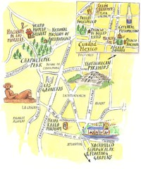 Mexico city illustrated map