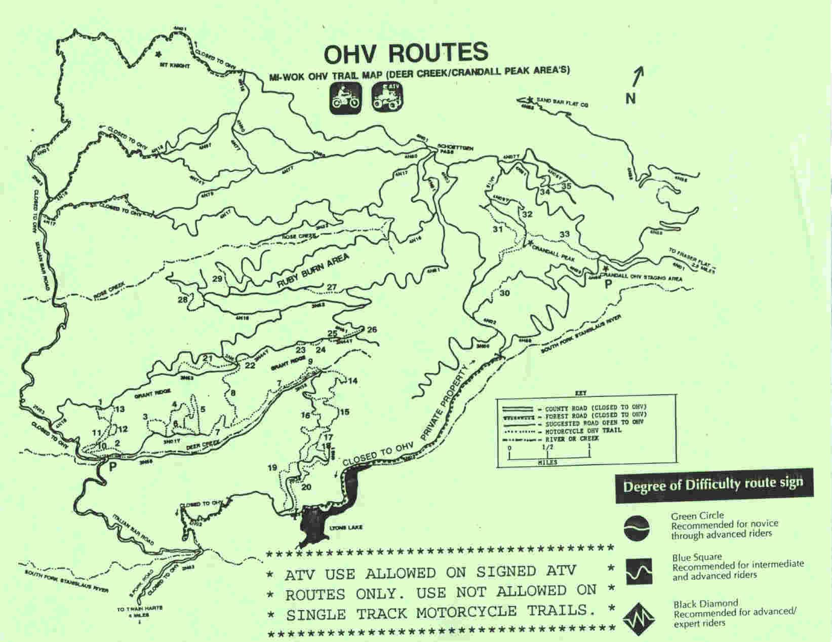 MiWok OHV Trail Map merced ca mappery