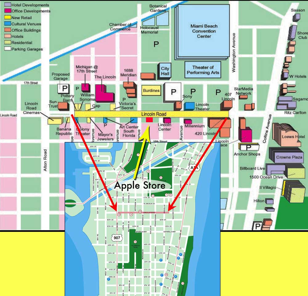 . miami beach tourist map  near miami beach convention center • mappery