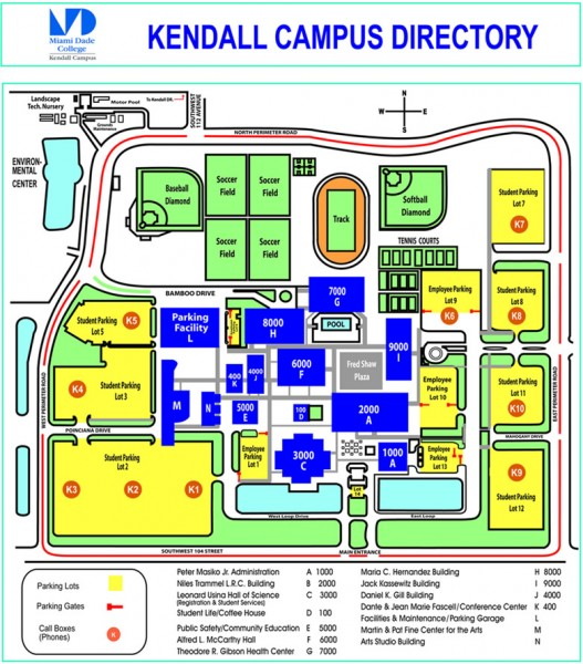 Miami Dade College   Kendall campus Map   11011 SW 104 ST Miami FL