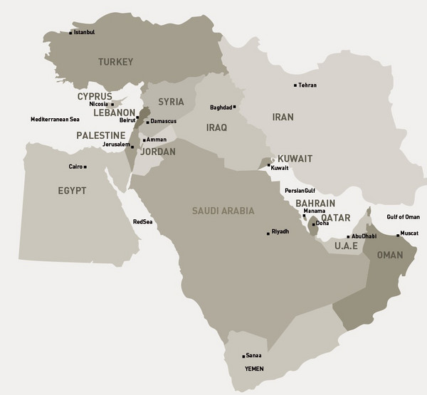 Middle East Map  Saudia Arabia  mappery