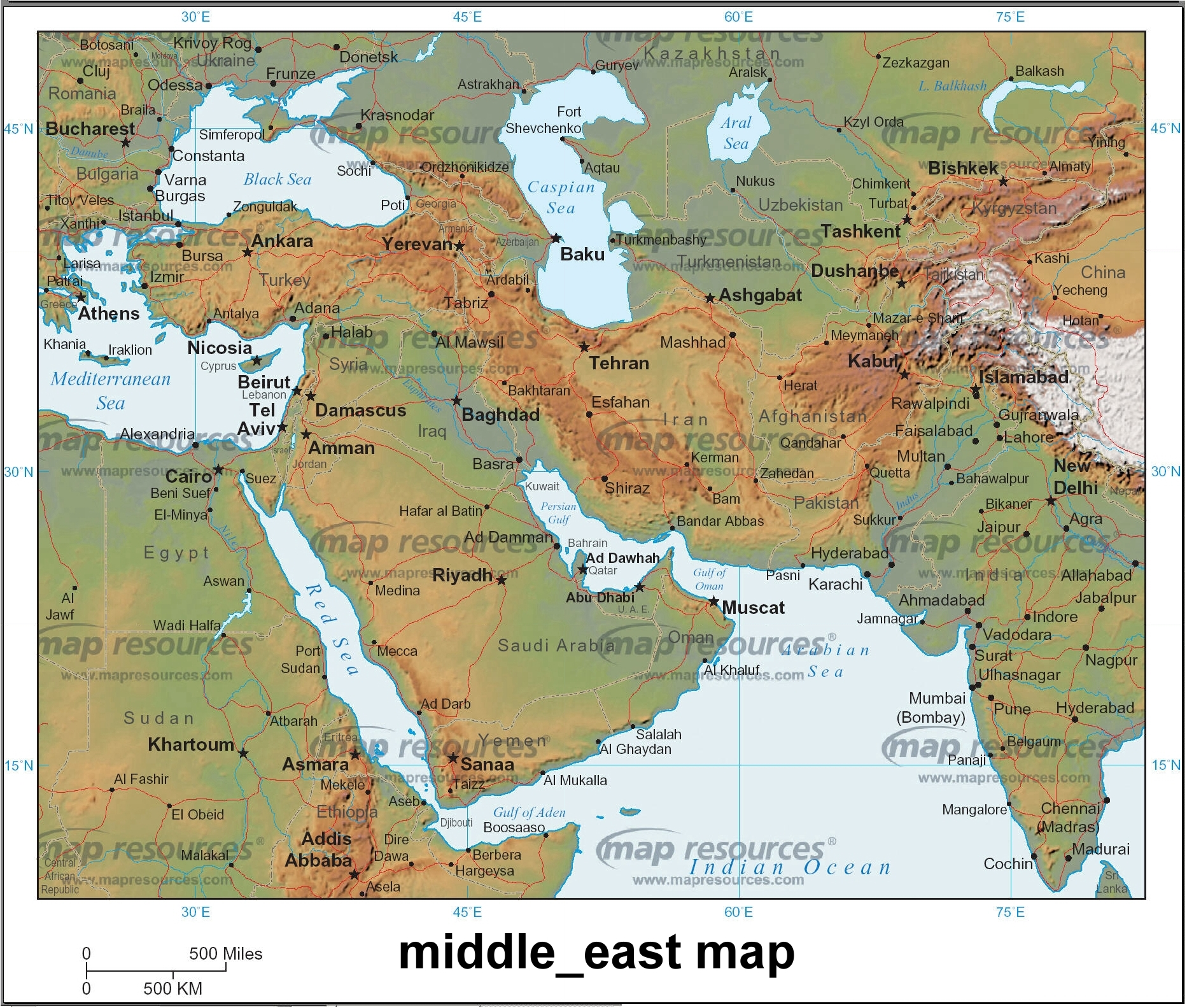 . middle east map  middle east • mappery