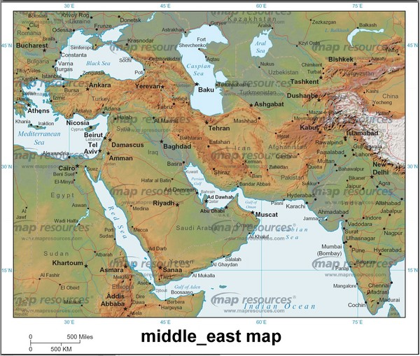 Map of Middle East includes countries, streets, cities, towns and waterways.