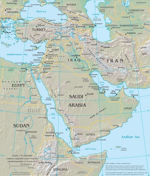 Middle East Physical Map Middle East mappery