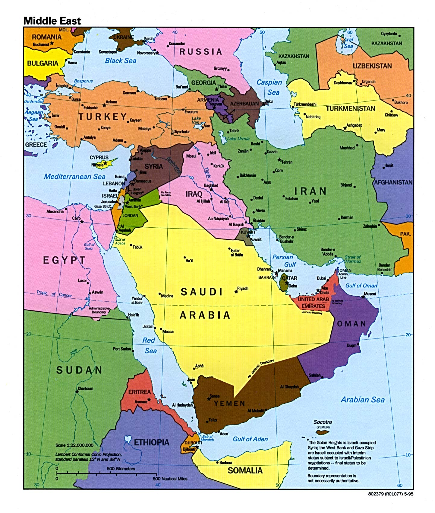 . middle east political map • mappery