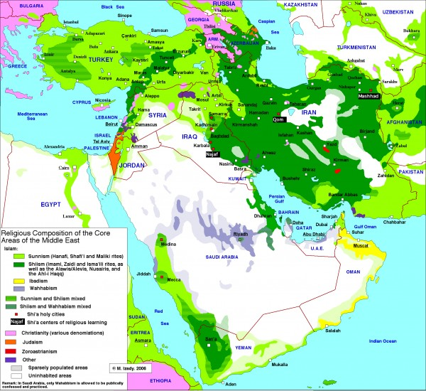 Middle East Religious Composition Map