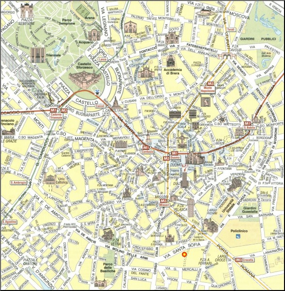 Milan Tourist Map Milan Italy mappery