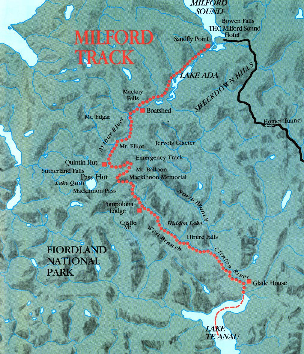 Milford Track Map Milford Track Fiordland New Zealand mappery